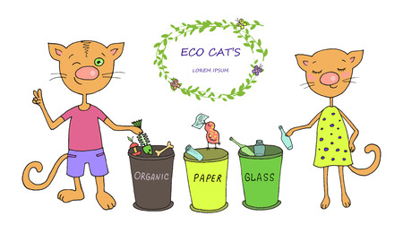 Cute cats sorted waste. Caring for the environment ecology. Sweet illustration of hand-drawn cartoon-style Illustration