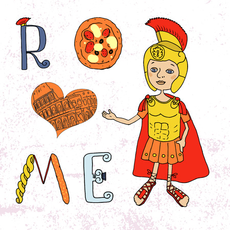 Color Image Roman gladiator in armor and helmet. Cartoon style. Illustration drawn by hand. Lettering with Roman and Italian elements - pizza, pasta, Roman column, contour Coliseum. Welcome to Rome
