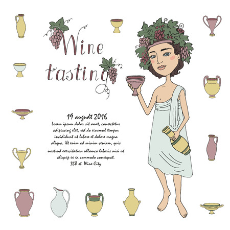 bacchus: God of wine Bacchus with a glass of wine in hand. Invitation to wine tasting. Lovely character on a white background with grapes and antique jugs and glasses for wine. Cartoon style. drawn by hand