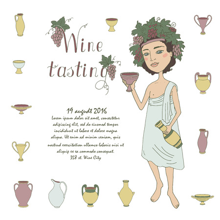 bacchus: God of wine Bacchus with a glass of wine in hand. Invitation to wine tasting. Lovely character on a white background with grapes and ancient Greek jugs for wine. Cartoon style. drawn by hand Illustration
