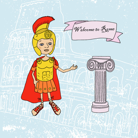 Cute illustration of a Roman gladiator and column hand drawn. Against the backdrop of the Colosseum, the main attraction of Rome. Capital. Cartoon style Illustration