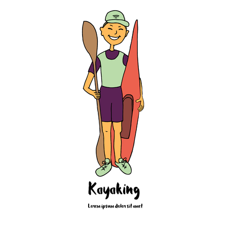 kayaker: Sportsman kayaker is a kayak and paddle in his hand. Cute illustration of a cartoon style. Hand drawn