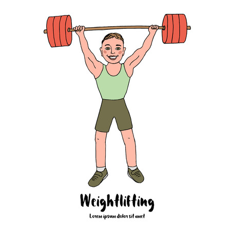 Cute bodybuilder sportsman lifting barbell over his head. Cartoon style vector illustration isolated on white background. Weightlifting sport.