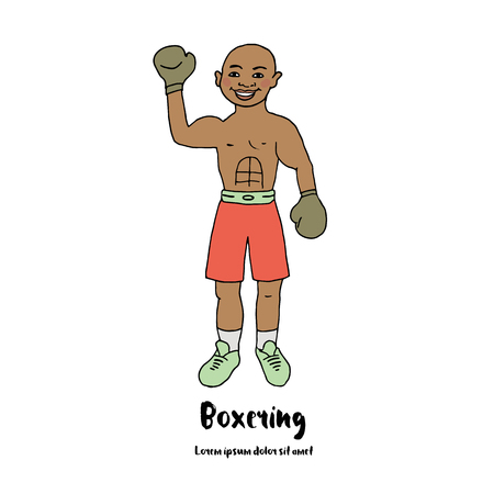 hand raised: Cute illustration of a boxer with his hand raised in boxing gloves. Athlete in competition. Picture in cartoon-style Illustration