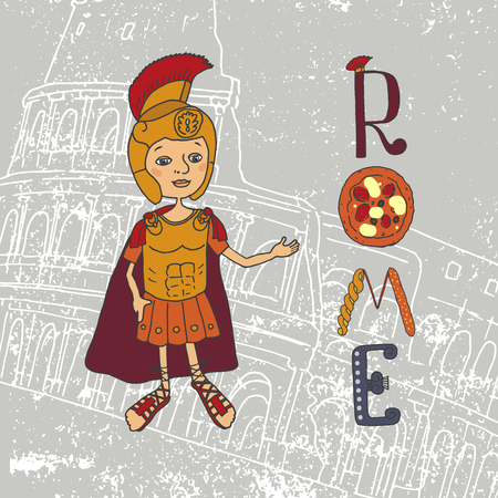 cartoom: Cute illustration of a Roman gladiator and letters with elements drawn by hand. Against the backdrop of the Colosseum, the main attraction of Rome. Capital. Rome Lettering. Cartoom style Illustration