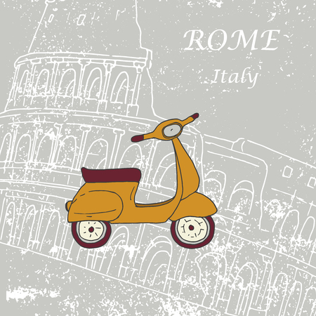 colosseo: cute illustration of a scooter. Against the background of the Roman Colosseum. Picture Painted by hand Illustration
