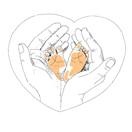 hands in: Delicate little feet of newborn baby in a caring and loving hands of mother. The picture painted by hand Illustration