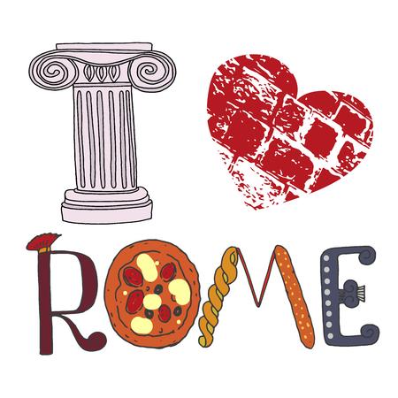 I love Rome. lettres mignons avec des éléments romains pizza, pâtes, colonne. Image peinte à la main