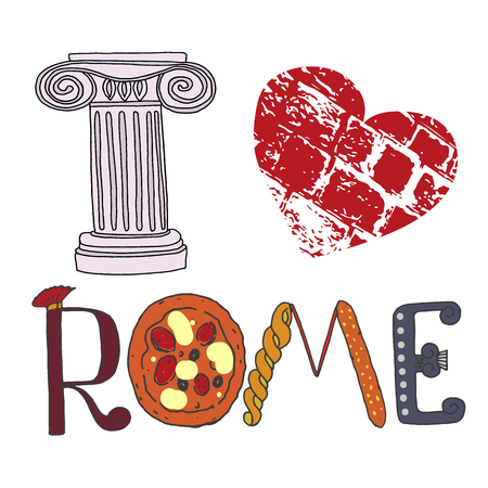 I love Rome. Cute letters with Roman elements pizza, pasta, column. Picture Painted by hand