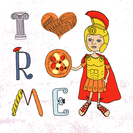 colosseo: Roman gladiator and letters with elements drawn by hand. Capital. I love Rome Lettering. Cute cartoon style Illustration