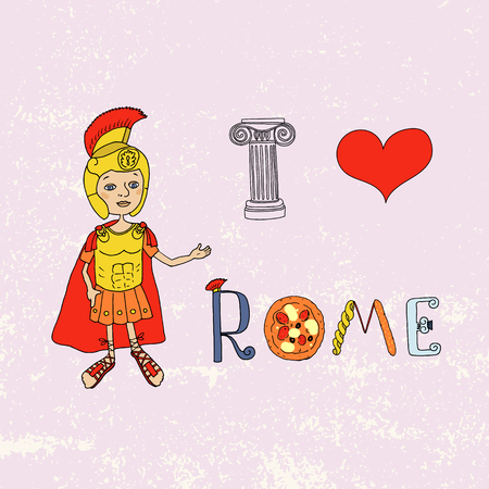 colosseo: Roman gladiator and letters with elements drawn by hand. Capital. I love Rome Lettering. Cartoon style