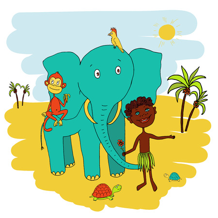african boy: African boy with his animal friends. The elephant, parrot, monkey, turtle.