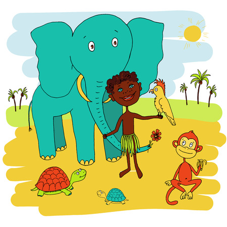 african boy: African boy with his animal friends. The elephant, parrot, monkey, turtle. Surrounded by an African landscape - sand, palm trees and the sun shines brightly.