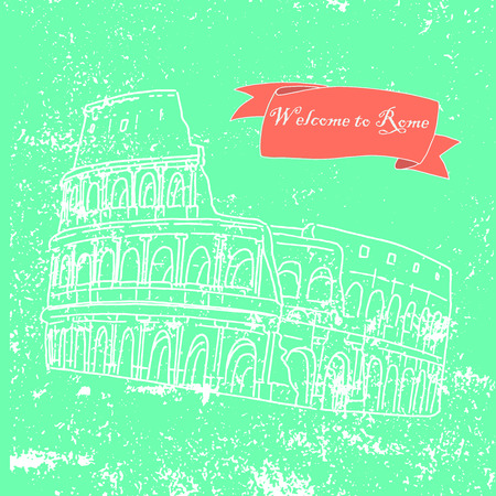 colosseo: Illustration of the Colosseum in Rome, Italy. Hand-drawn on a colored background with texture and an inscription welcome to Rome. Illustration