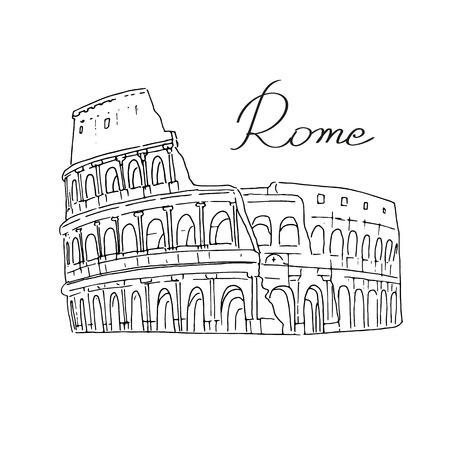 colosseo: Illustration of the Colosseum in Rome, Italy. A hand on a white background. The letters were written by hand. Historical monument. Rome - the capital of the European state Illustration