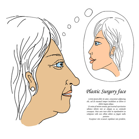 face surgery: Beautiful girl before and after plastic surgery face. Illustration drawn by hand