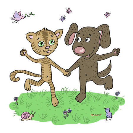 puppy love: Cute and funny friends puppy and kitten running around the meadow. Against the background of flowers, butterflies and birds. Illustration of friendship and love in a cartoon style.