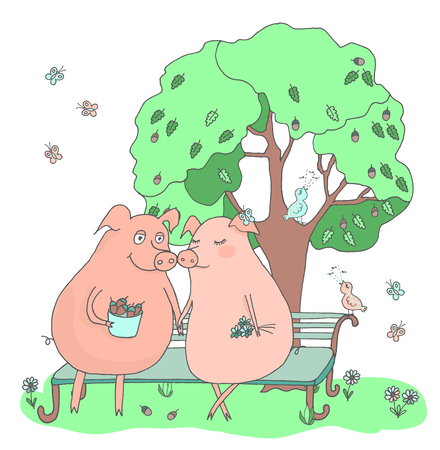 Couple of cute pigs sitting on a bench under a tree. Boy pig with acorns girl pig with flowers. Funny and romantic illustration of friendship and love in a cartoon style. Love, dating, Valentines Day