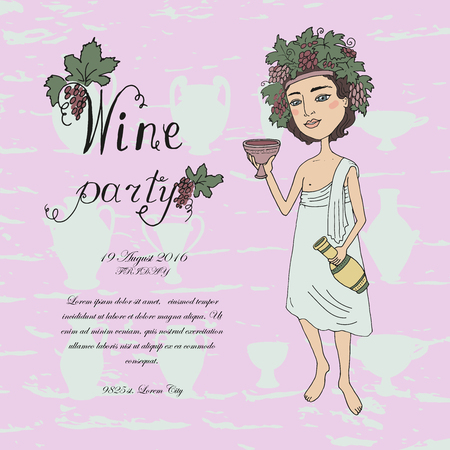bacchus: God of wine Bacchus with a glass of wine in hand. Invitation to wine tasting. Lovely character on a pink background with grapes and antique jugs and glasses for wine. Cartoon style. drawn by hand