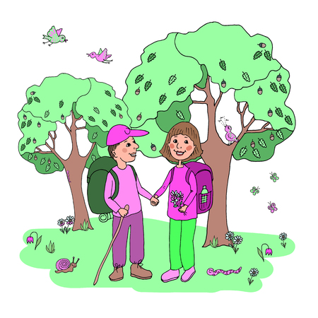 eco tourism: Couple man and woman with backpacks engaged in eco tourism. Against the background of the forest, flowers and birds. Cute illustration in cartoon style