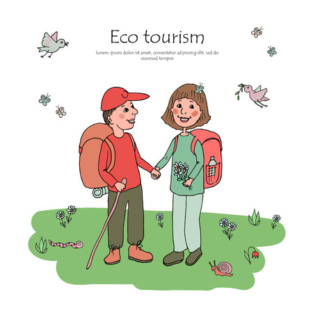 Couple man and woman with backpacks engaged in eco tourism. Against the background of flowers, butterflies and wildlife. Cute illustration in cartoon style