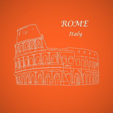 colosseo: Illustration of the famous Colosseum in Rome. Contour image on an orange background