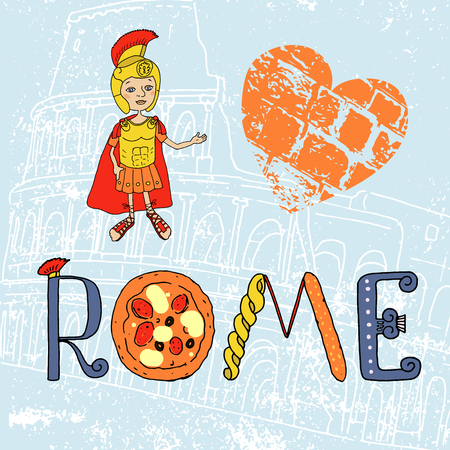 colosseo: Color Image Roman gladiator in armor and helmet. Cartoon style. Illustration drawn by hand. Lettering with Roman and Italian elements - pizza, pasta, Roman column, contour Coliseum. Welcome to Rome