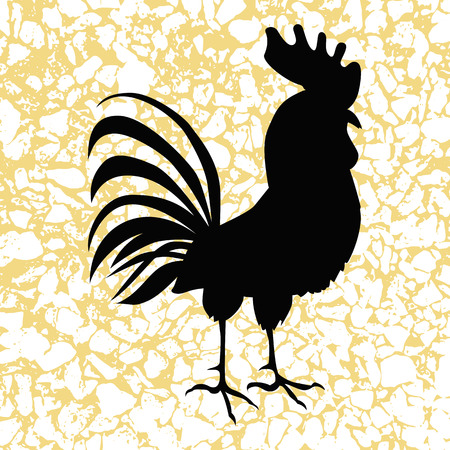 acclaim: Cock in hand-drawing style. Rooster symbol of Chinese New Year. Vector illustration. In full growth. Illustration