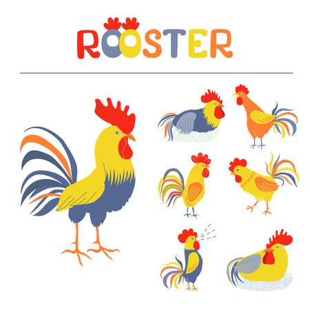 pompous: Seven lovely cockerels on a white background. Illustration in flat style. Cocks crowing. Cock-a-doodle-doo. Cockerel slipping. Rooster symbol of Chinese New Year Illustration