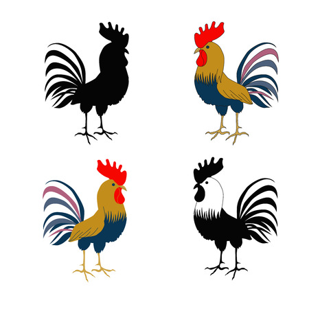 pompous: Four cockerels - a silhouette of a rooster, a cock in flat style, hand drawn on a white background. Rooster symbol of Chinese New Year. Vector illustration. In full growth.