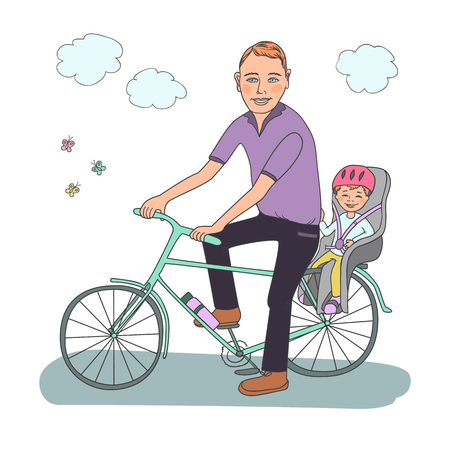 helmet seat: Dad with the baby go by bicycle. The kid in a helmet sits in bike child seat. Travel with children. A lovely illustration on a white background