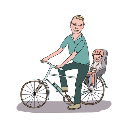 Dad with the baby go by bicycle. The kid in a helmet sits in bike child seat. Travel with children. A lovely illustration on a white background