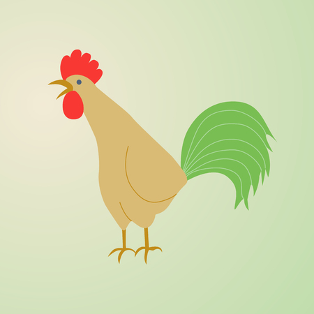 Illustration of a rooster crowing. Rooster symbol of Chinese New Year. In full growth. Isolated bird on white background