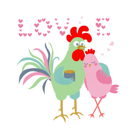Cute cartoon cock and hen - symbol of 2017. The word Love consisting of hearts. Chinese New Year of the Rooster. Greeting card, Valentine Day design. Illustration in flat style Illustration