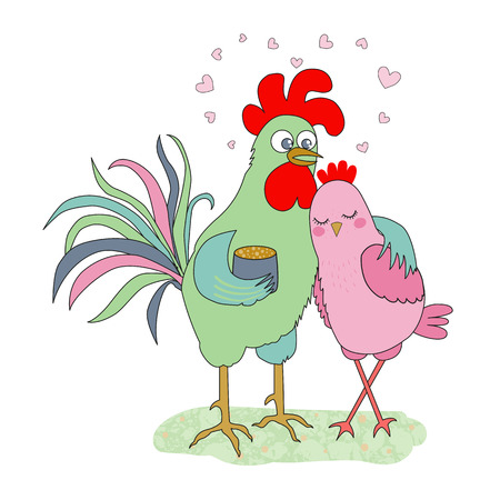 Cute cartoon cock and hen - symbol of 2017. Chinese New Year of the Rooster. Greeting card, Valentine Day design. Illustration in flat style Illustration