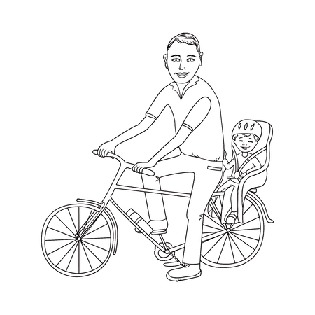 child seat: Dad with the baby go by bicycle. The kid in a helmet sits in bike child seat. Travel with children. Image silhouette Illustration