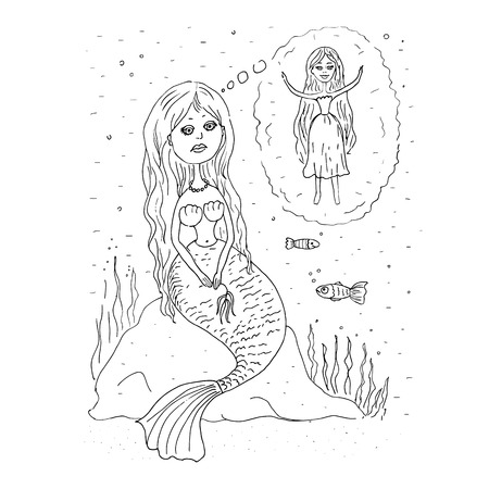 fish tail: Silhouette of the beautiful mermaid who sits on a stone and dreams to have legs, but not a fish tail. The lovely picture in cartoon style Illustration