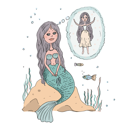 water nymph: The lovely and beautiful Little Mermaid sits on a stone at the bottom of the sea. She sees the dream - to have legs as at the person, but not a fish tail. An illustration in animation style