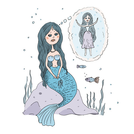 water nymph: The lovely and sad Little Mermaid sits on a stone at the bottom of the sea. She dreams of that she had legs, as at the person. An illustration in animation style