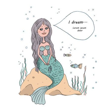 water nymph: The lovely and beautiful Little Mermaid sits on a stone at the bottom of the sea, dream bubble. An illustration in cartoon style