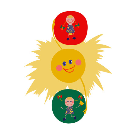 The traffic light consists the sun and the girls. Lovely illustration in cartoon flat style