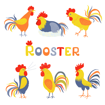 pompous: Six lovely cockerels on a white background. Illustration in flat style. Cocks crowing. Cock-a-doodle-doo. Cockerel slipping. Rooster symbol of Chinese New Year Illustration