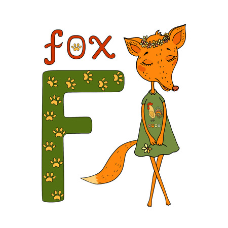 Cute Cartoon Fox in a dress with a rooster and a flower wreath on the head. Letter of the alphabet F