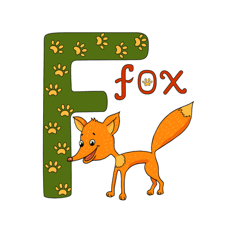 illustration of cute fox and letter of the alphabet F. Funny hand drawn cartoon characters.