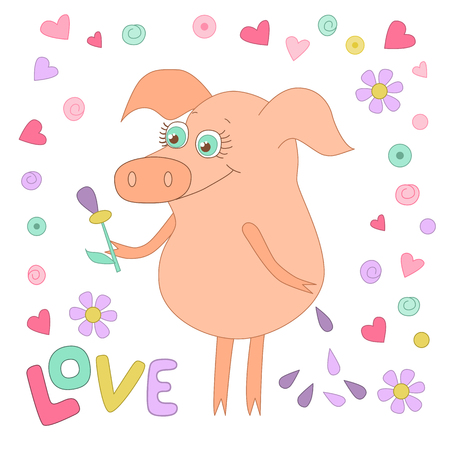 oink: Happy pig with a flower in a hand. Cute piggy in cartoon style on white backgraund with hearts. Word love is hand drawn