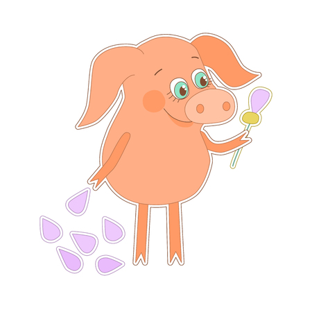 oink: Happy pig with a flower in a hand. Cute piggy in cartoon style on white background