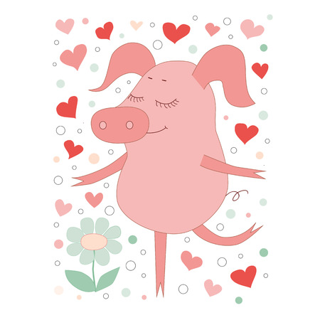 oink: The lovely pig with a closing eyes stend on one leg. Cute piggy in cartoon style. On a white background with hearts.
