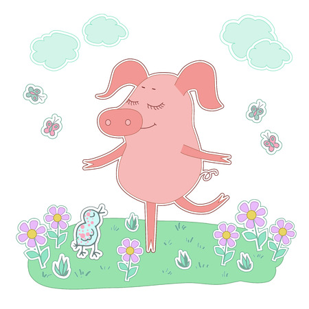 oink: Piglet with eyes closed stand on one leg. Cute cartoon pig sticker. Piggy on white background with bird, flowers, butterflies, clouds