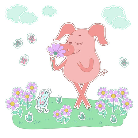 oink: Happy piglet with a flower in a hand. Pig sticker in cartoon style. Piggy on white background with bird, flowers, butterflies, clouds Illustration