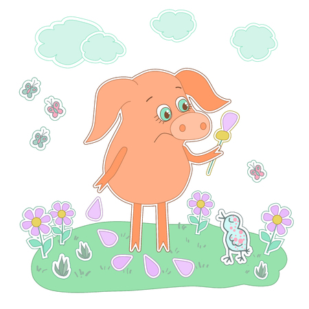 piglet: Sad piglet with a flower in a hand. Cute cartoon pig sticker. Piggy on white background with birds, flowers, butterflies, clouds Illustration